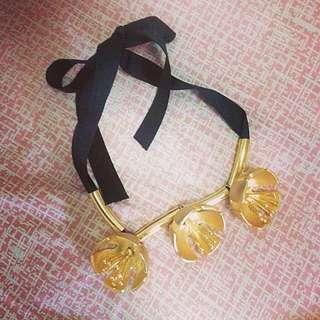 Gold Flower Statement Necklace