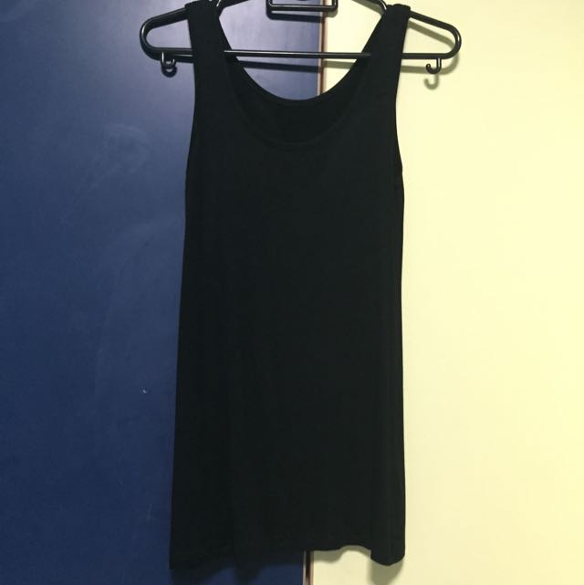 b7ba656a0fb455 Plain Black Tank Top