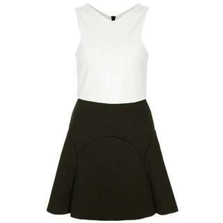 topshop black colorblock godet skater dress