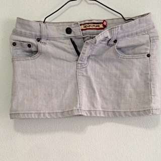 Faded Denim Mini Skirt. Size 26. Collection As Pasir Ris Mrt Station. No Trade.