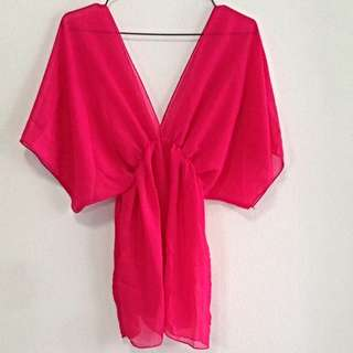 Hot Pink Chiffon Kimono Top. Free Size. Collection At Pasir Ris Mrt Station. No Trade