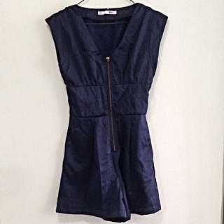 Navy Blue Front Zipper Romper. Size M. Collection Pasir Ris Mrt Station. No Trade.