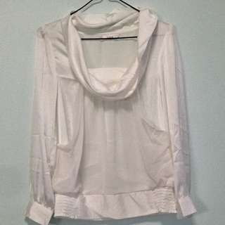 White Boat Next Collar Long Sleeve Top. Collection At Pasir Ris Mrt Station. No Trade.