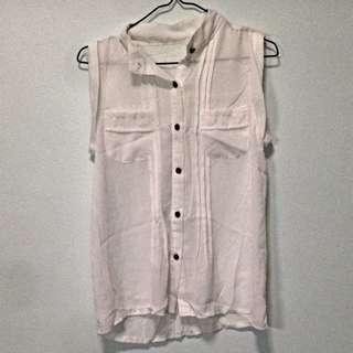 White Chiffon Top With Pleats. Fits UK 6. Collect At Pasir Ris Mrt Station No Trade.