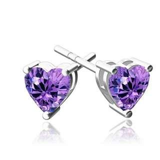 Heart Shape Purple Diamond Ear Studs