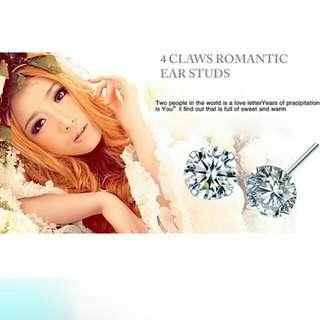 4-claws S925 Diamond Ear Studs