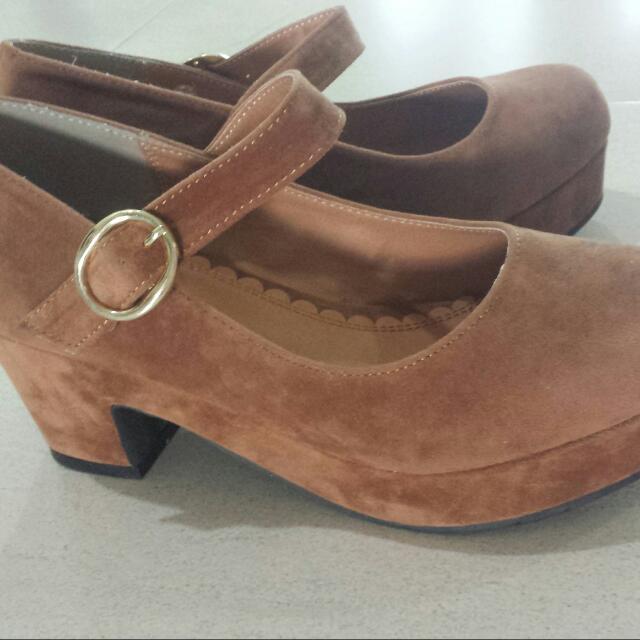 BN Brown Suede Maryjanes Heels/PLATFORMS FROM JAPAN