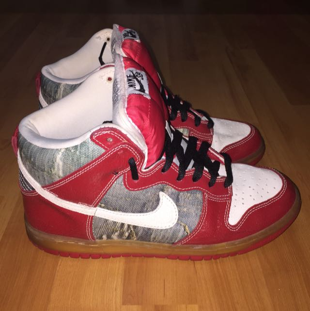 Nike SB Dunk Hi-cut Red white grey Distressed Leather Sneakers Mens  US8 UK7 EUR41 Limited Edition! 1ac87e4b3f