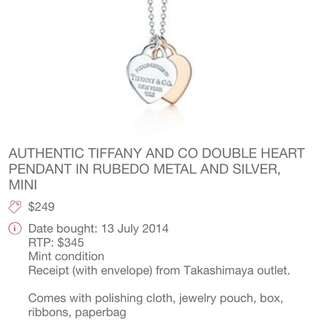 AUTHENTIC TIFFANY AND CO DOUBLE HEART NECKLACE PRICE REDUCED!!!!