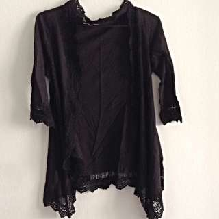 3/4 Sleeves Cardigan With Crochet Trimmings. Fits S/M. Collection At Pasir Ris MRT. No Trades.