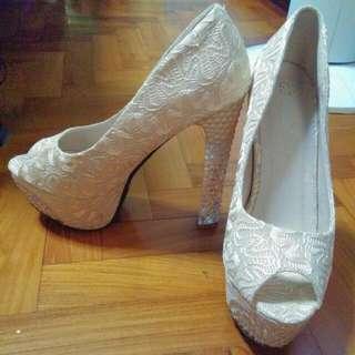 Beige Lace High Heels