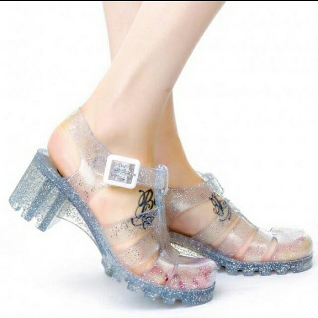5dff5158e282 Juju Jelly Shoes With Heels Authentic In Silver With Glitter ...