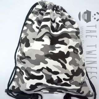 INSTOCK! Camo Grey Canvas Drawstring Bag