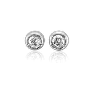 Free Delivery. 10k White Gold Round Brilliant Cut Diamond Small Stud Earrings (HI, I1-I2, 0.05 Carat)