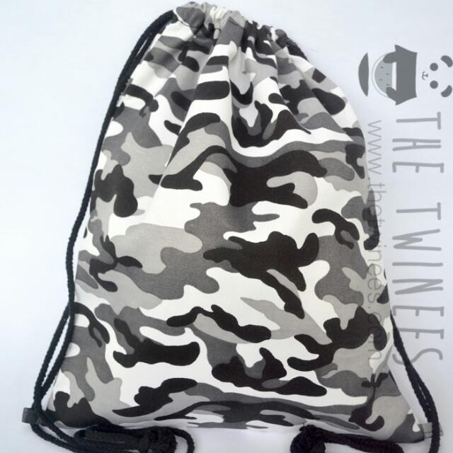 INSTOCK! Camo Grey Canvas Drawstring Bag