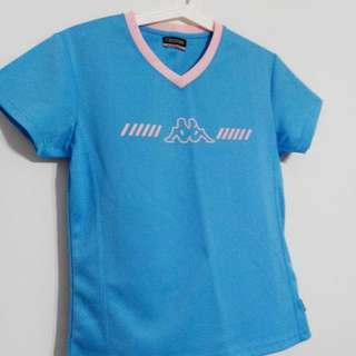 9.5/10 Almost New Condition Washed Once Kappa Baby Blue Pink Collar Sports Wear Tee Shirt Top Not Cotton Exercise Sports Jersey