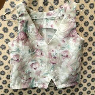 BN Abstract Floral Cropped Top