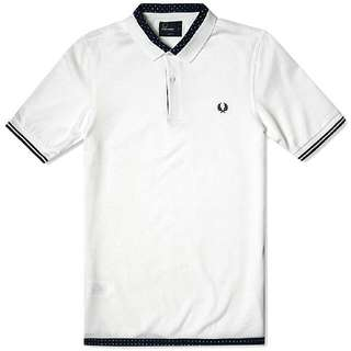 Fred Perry White Polka Dot Trim Shirt