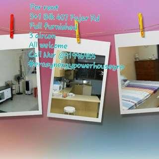For Rent 3+1 Blk 407 Fajar Rd Full Furnished ,aircon Call Nur 91996955  #EraSynergyPowerhouse