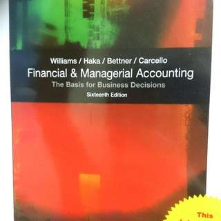 BU8101 Financial & Managerial Accounting (16th Ed)