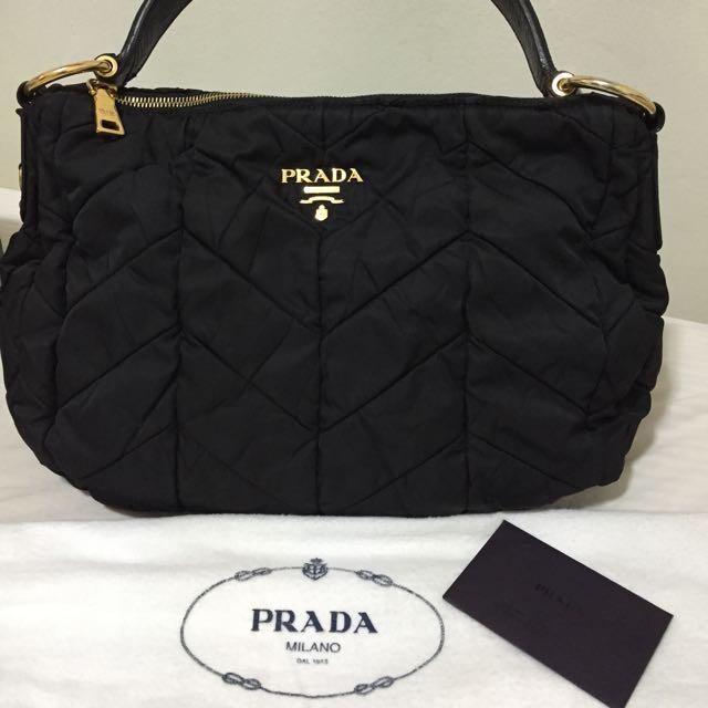 660ab1868d43 Prada Black Chevron Quilted Tessuto Nylon Shoulder Bag Luxury On