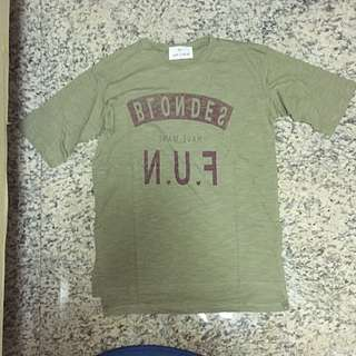 Flipped Letters Military Green Oversized Tee