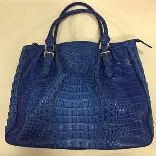 94754ce6ec7 Genuine Crocodile Skin Cobalt Blue Shoulder Bag