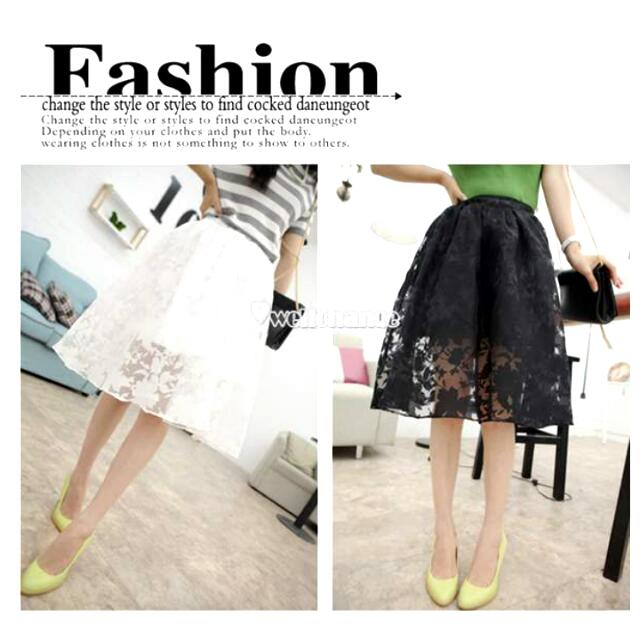 White Floral Chiffon Midi Skirt
