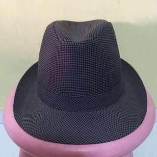Grey/Black Checked Fedora Hat