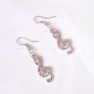 Treble Clef Rhinestone Earring - Pink