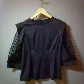Preloved Black Blouse With Checkered Mesh Sleeves