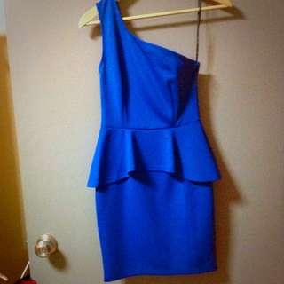 BN Dark Blue Peplum Toga Dress