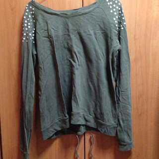 F21 Army Green Studded Pullover