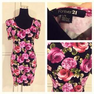 F21 Floral Bodycon