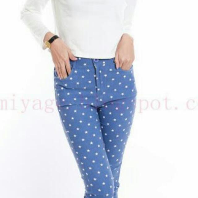 0693d6c046f44 Blue Star Jeggings, Women's Fashion on Carousell