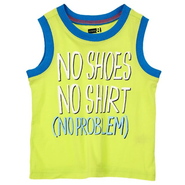 BN Size 2Y Crazy 8 No Shoes No Shirt No Problem Tank Top For Kid Boy - Pkcrazy8 Pkboy