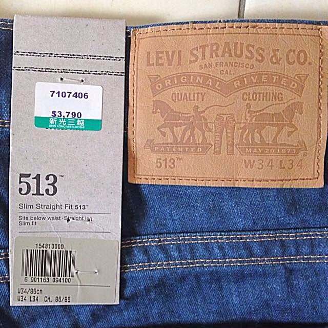 LEVI STRAUSS & CO. 513 Levi's Slim Strait Fit W34 L34 7107406