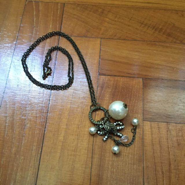 Long Pearl/Ribbon/Crystal Chain