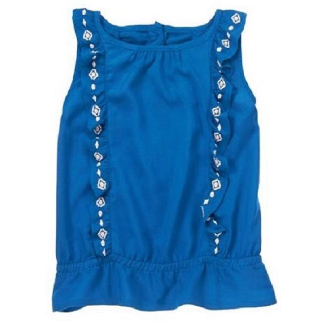 BN Size 3Y Crazy 8 Blue Embroidered Ruffle Top For Kid Girl - Pkcrazy8 Pkgirl