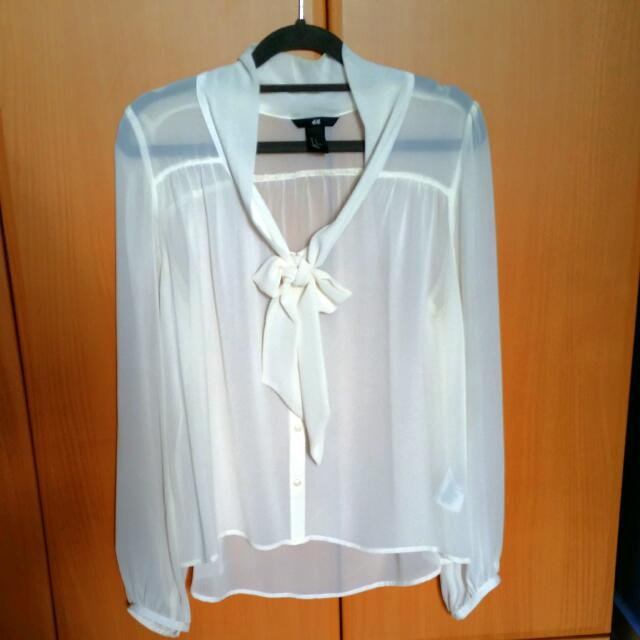 Cream Bow Blouse