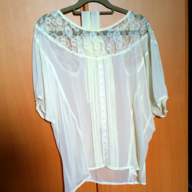 Cream Lace Batwing