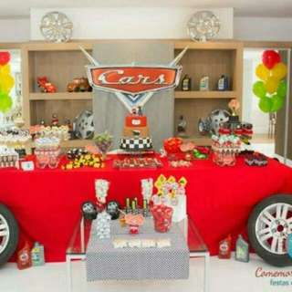 Cars Themed Birthday Party (Party Supplies)  Pls CHAT with us for the detailed/specific product listing & price.. We Have wide range of stocks pre printed & personalized...