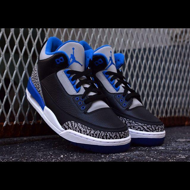 8d6fec874ed Authentic Nike Air Jordan 3 Retro Sport Blue/Black/Wolf Grey, Sports ...