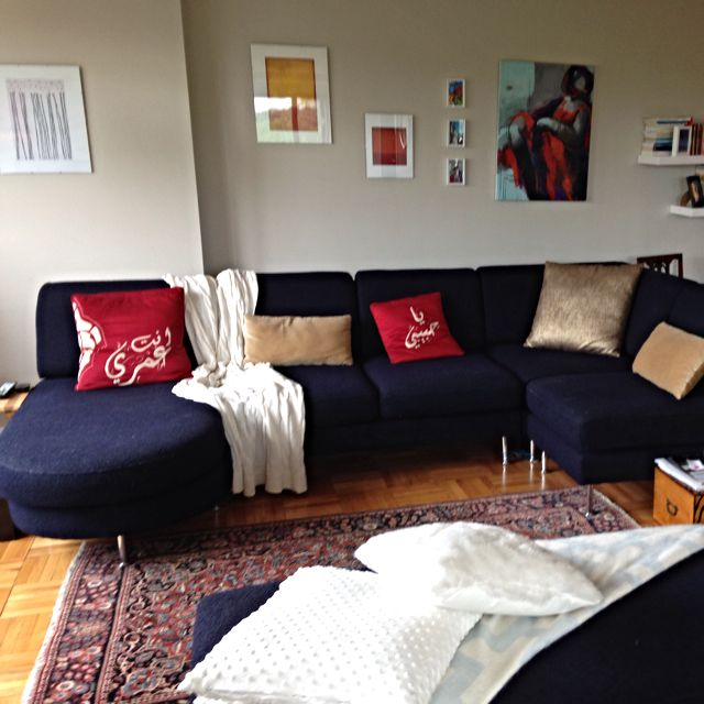 Sectional Sofa, 5 Pieces, Navy Blue