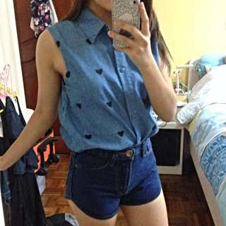 Denim Hearts Top