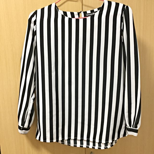 Beautiful Vintage Black And White Strip Casual Blouse