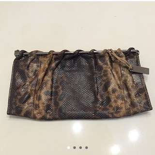 Gucci brown shades snake skin clutch with silver hardware and nylon lining With Dustbag, Used , Bought $1500 Now $350 Nett, No Trade