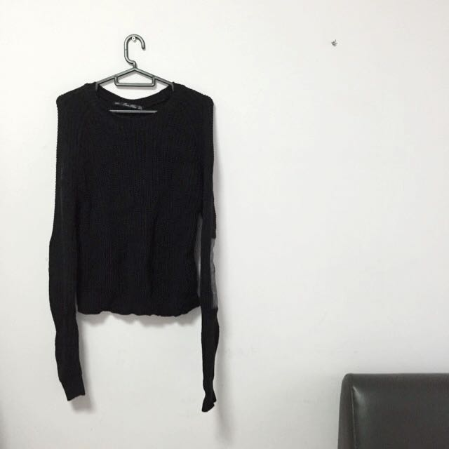 e8da9c83 Zara Cable Knit Sweater With Faux Leather Elbow Patches (Pre-Loved),  Women's Fashion on Carousell