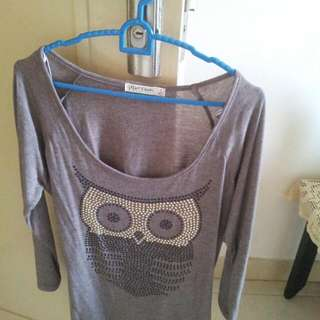 PROMO - New Light Brown T-shirt With Sequined Owl -