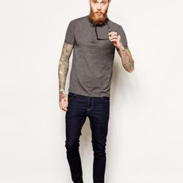 BNIP CHARCOAL ASOS POLO SHIRT